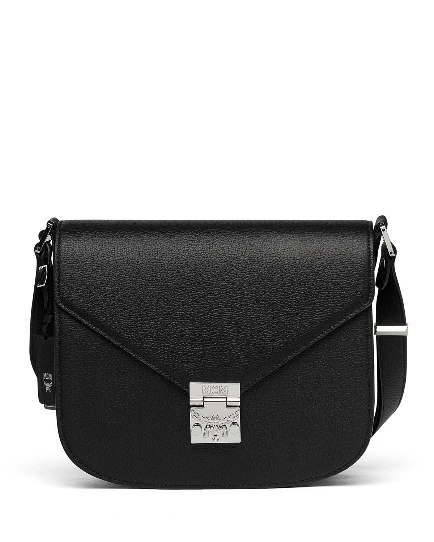 b78cb95f7294 MCM Patricia Medium Leather Crossbody Bag, Black | Neiman Marcus