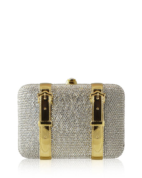Judith Leiber Couture Crystal Buckle Minaudiere Bag, Silver/Gold
