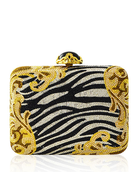 Judith Leiber Couture Golden Zebra Large Slim Rectangle