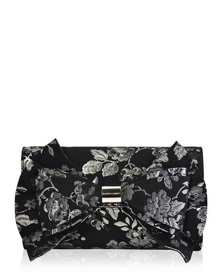 Beekman Brocade Bow Evening Clutch Bag, Black/Silver