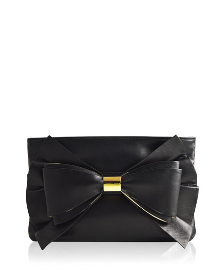 Judith Leiber Couture Sutton Leather Bow Evening Clutch