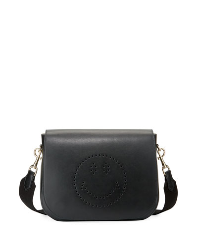 Ebury Perforated Smiley Satchel Bag, Black