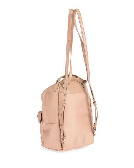 Eco-Nylon Woven-Trim Backpack, Black