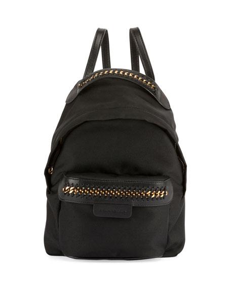 Stella McCartney Eco-Nylon Woven-Trim Backpack, Black