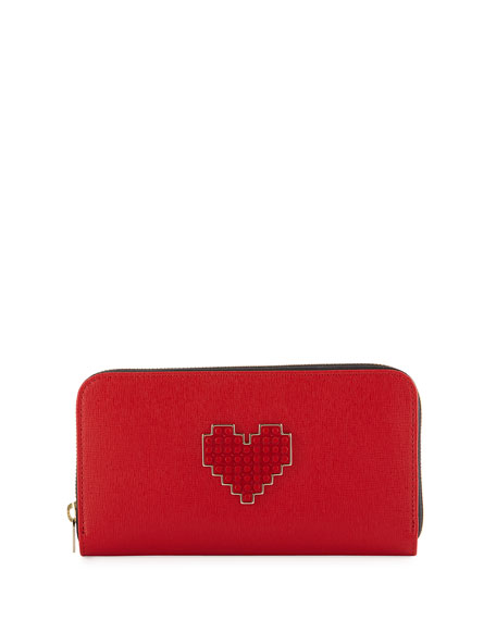Lolita Large Heart Zip Wallet, Red