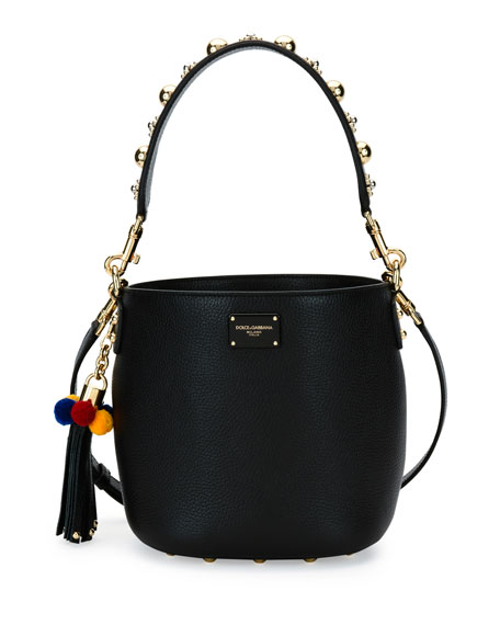 Dolce & Gabbana Glam Vitello Bucket Bag, Black