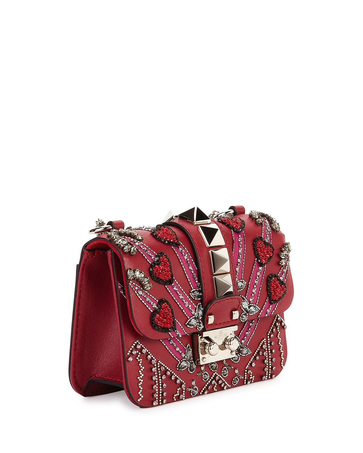 7b6c2c57a97 Valentino Garavani Lock Mini Love Blade Shoulder Bag, Red | Neiman Marcus