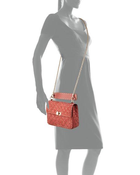 Rockstud Medium Quilted Suede Shoulder Bag