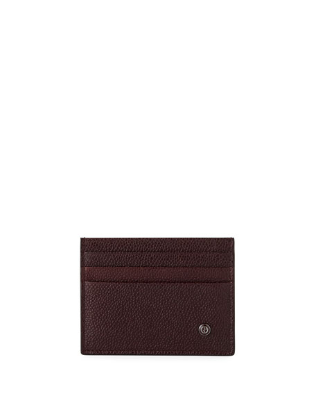Giorgio Armani Caviar Leather Card Case, Wine