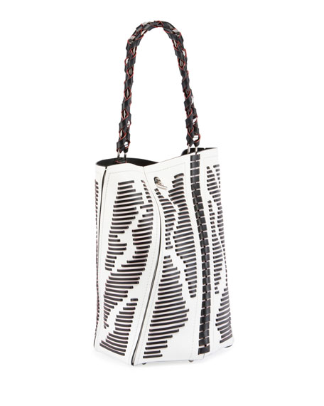 Hex Medium Woven Leather Bucket Bag, Black
