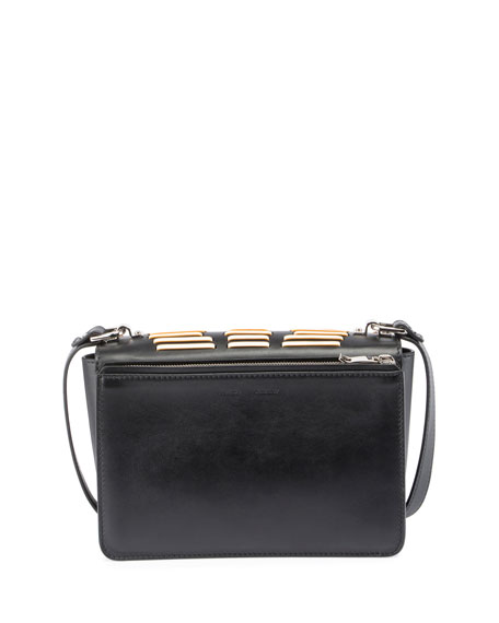 Hava Woven Leather Shoulder Bag, Black/White