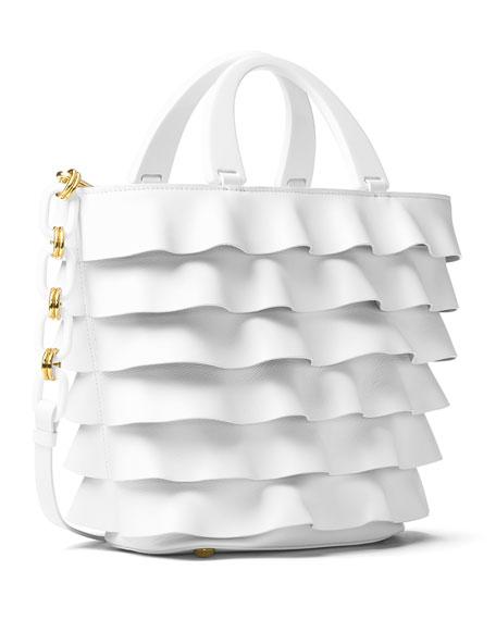 Stanwyck Ruffled Leather Tote Bag, White