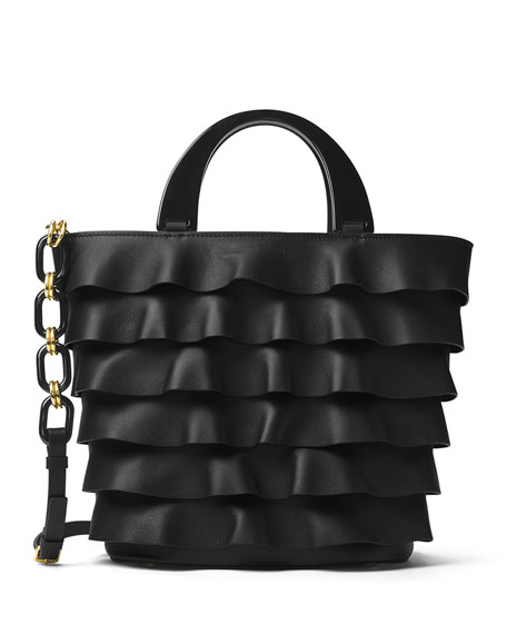 Stanwyck Ruffled Leather Tote Bag, Black
