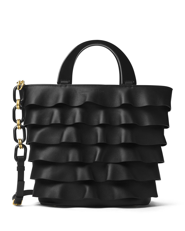 980fce95cf37 Michael Kors Stanwyck Ruffled Leather Tote Bag