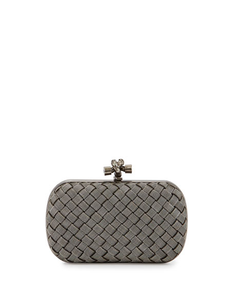 Bottega Veneta Metal Intrecciato Knot Frame Clutch Bag,