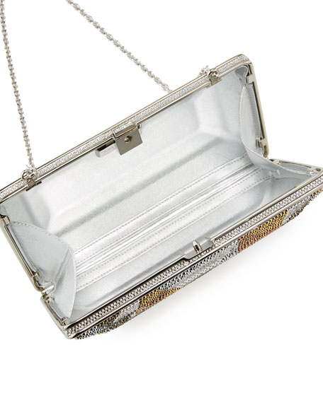 New Diamond Crystal Evening Clutch Bag, Silver/Multi