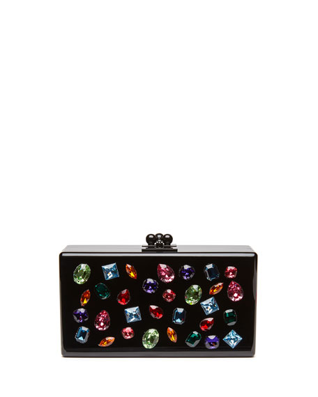 Edie Parker Jean Jewelie Clutch Bag, Black Multi