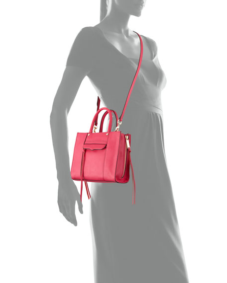 MAB Mini Leather Tote Bag, Bright Fuchsia
