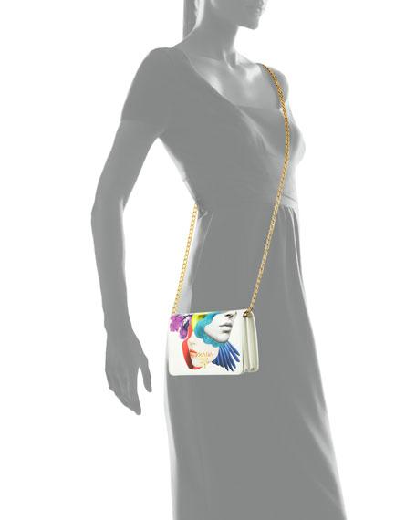 Illustrated Leather Chain Shoulder Bag