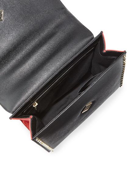 Alex Studded Leather Bunny Bag, Black/Red