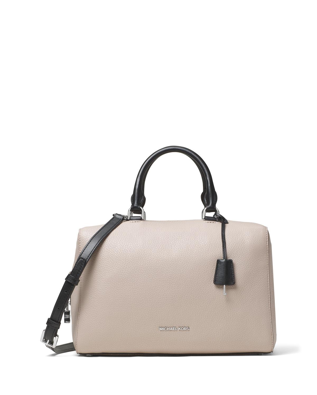 898a1e7c7a1966 MICHAEL Michael Kors Kirby Large Leather Satchel Bag, Cement/Black ...