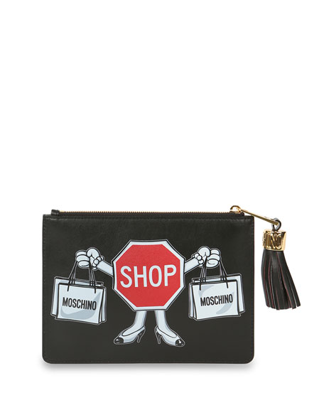 Moschino Shop Sign Printed Leather Clutch Bag, Black/Red