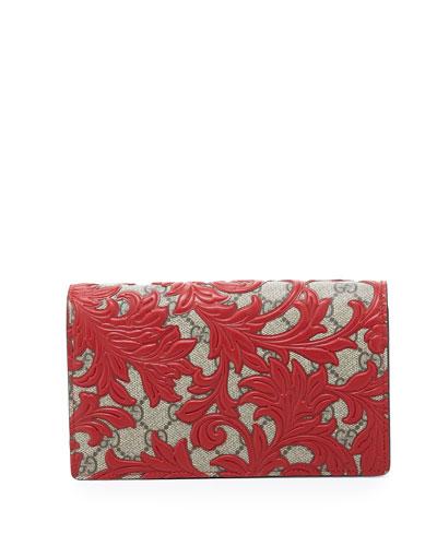 Arabesque Canvas Chain Wallet, Brown/Red