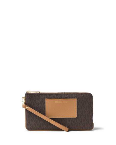 MICHAEL Michael Kors Bedford Large Double-Zip Wristlet, Brown