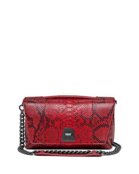 Akris Anouk Day Python Shoulder Bag, Scarlet Red