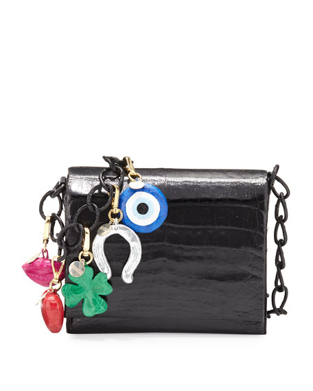 Gio Crocodile Charm Crossbody Bag, Black