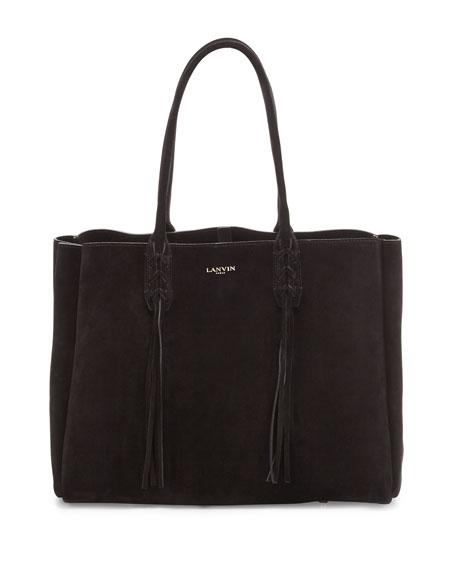 Lanvin Small Suede Fringe Tote Bag, Black