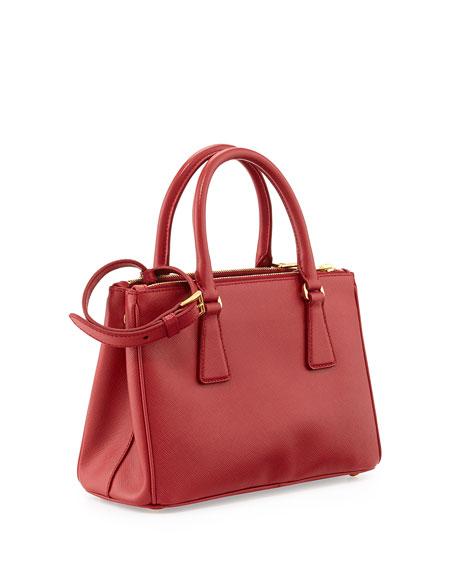 Saffiano Mini Double-Zip Crossbody Bag