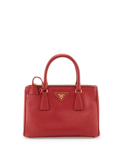 Saffiano Mini Double-Zip Crossbody Bag
