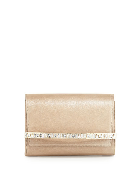 Jimmy Choo Bow Crystal-Bar Clutch Bag, Sand