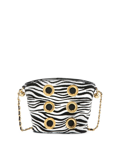 The Six Zebra Grommet Crossbody Bag, White/Black