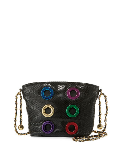 The Six Python Grommet Crossbody Bag