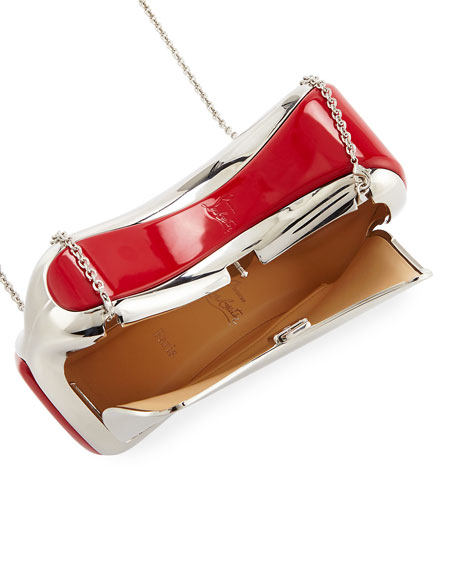 Shoespeaks Brass Clutch Bag, Silver
