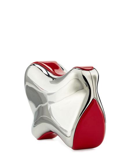 Shoespeaks Brass Clutch Bag, Silver