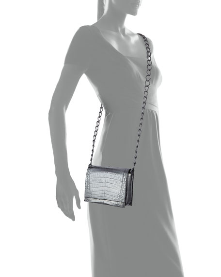 Small Metallic Crocodile Chain Shoulder Bag