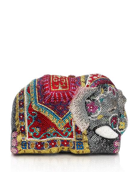 Crystal-Encrusted Elephant Clutch Bag, Red/Multi