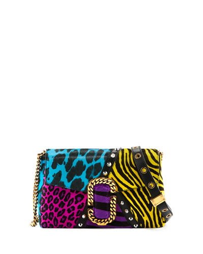St. Marc Punk Calf Hair Clutch Bag, Black/Multi