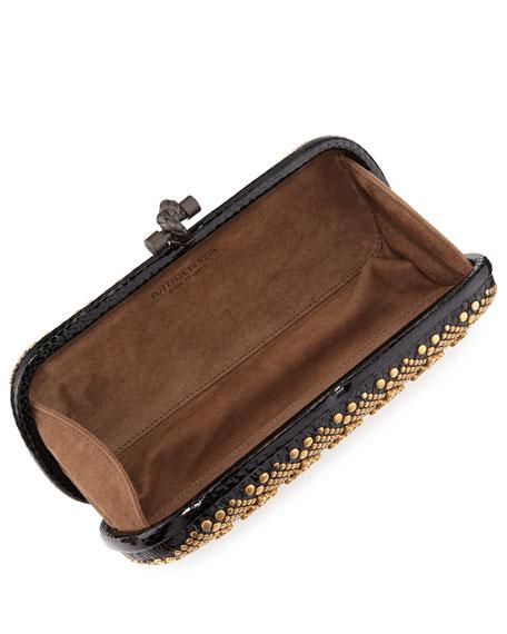 Knot Studded Snakeskin Clutch Bag