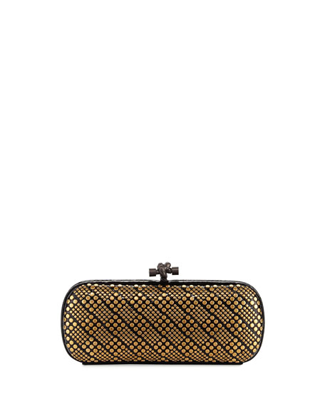 Bottega Veneta Knot Studded Snakeskin Clutch Bag