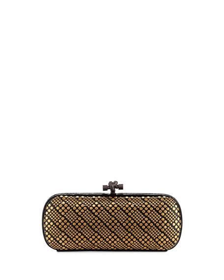 Bottega Veneta Knot Studded Snakeskin Clutch Bag