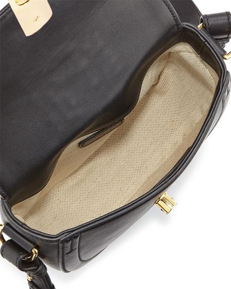 Ghianda Mini Woven Leather Saddle Bag, Black
