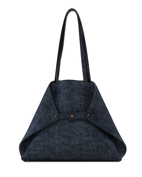Akris Ai Medium Reversible Shoulder Bag, Dark Blue