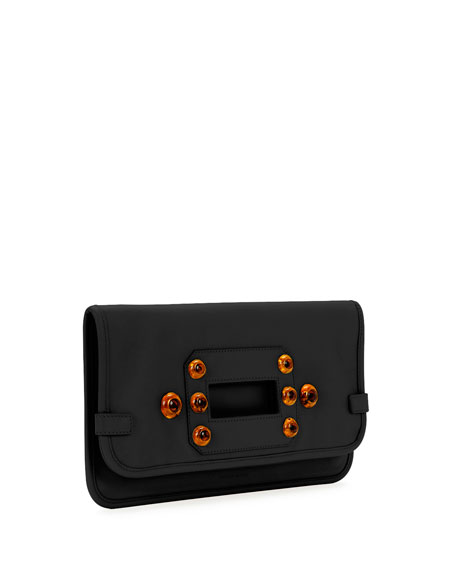 Aragon Studded Fold-Over Clutch Bag