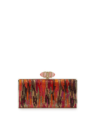 Singaraja Crystal Evening Clutch Bag, Burgundy/Multi