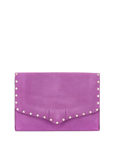 Rebecca Minkoff Biker Studded Suede Clutch Bag, Purple