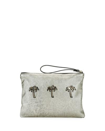 Sport Palms Wristlet Pouch Bag, Light Brass